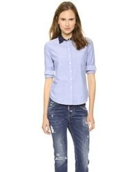 Band Of Outsiders Oxford Easy Shirt with Contrast Collar Light Blue - Lyst