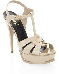 Saint Laurent Patent Tribute Sandal 105 - Lyst