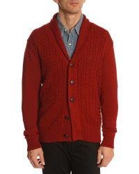 Menlook Label J7 Burgundy Cable-Knit Cardigan - Lyst