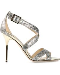 Jimmy Choo Silver 'Lottie' Sandals - Lyst