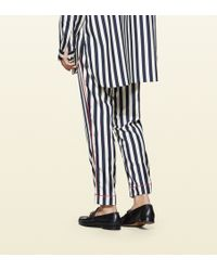 Gucci - Striped Silk Poplin Pajama Pant - Lyst