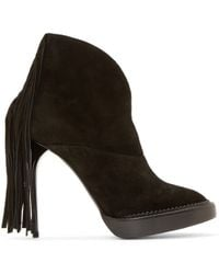 Burberry Prorsum - Black Suede Fringed Ankle Boots - Lyst