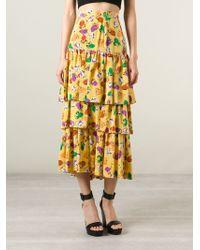 Yves Saint Laurent Vintage Layered Floral Print Skirt - Lyst