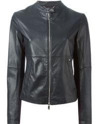 Armani Jeans Zipped Leather Jacket - Lyst