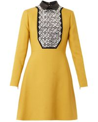 Gucci Leathercollar Embellished Crepe Dress - Lyst