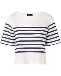A.P.C. Marine Striped Cropped Tshirt - Lyst
