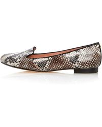Topshop Limbo Snake Print Leather Slipper Shoes - Lyst