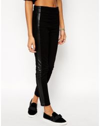 Asos Ankle Grazer Stretch Skinny Trousers With Pu And Zip Detail - Lyst