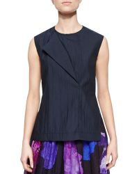Risto Novara Overlapping Sleeveless Shantung Top - Lyst