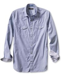 Banana Republic Slim Fit Micro Stripe Western Shirt Comet Blue - Lyst