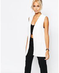 Fashion Union - Sleeveless Long Line Blazer - White - Lyst