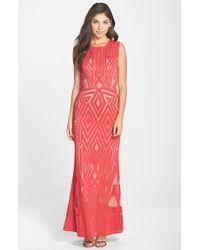 BCBGMAXAZRIA Viera Geometric-Lace Gown - Lyst