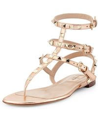 Valentino Rockstud Ankle-wrap Thong Sandal - Lyst