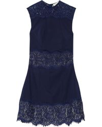 Lover Vee Vee Lace-paneled Twill Mini Dress - Lyst