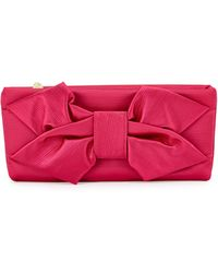 Betsey Johnson Bow-detailed Satin Clutch Bag - Lyst