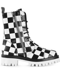 Love Moschino Checked Boots - Lyst