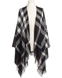 The Kooples - Plaid Wool Poncho Scarf - Lyst