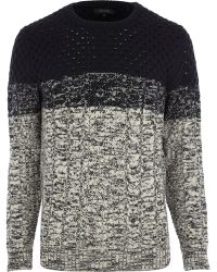 River Island Black Ombre Cable Knit Jumper - Lyst