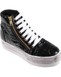 Jeffrey Campbell Sneaker Alta Homg In Tessuto Nero Lucido Co - Lyst