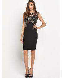 Lipsy Foil Wax Lace Dress - Lyst