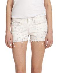 J Brand Faded Floral-print Denim Cut-off Shorts - Lyst