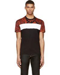 Givenchy Black and Orange Paisley Blocked T_shirt - Lyst