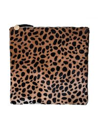 Clare Vivier Foldover Clutch In Leopard Hair - Lyst