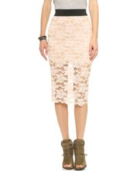 Free People Lace Pencil Skirt - Blush - Lyst