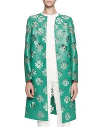 Alexander McQueen Floral Lasercut Leather Coat - Lyst