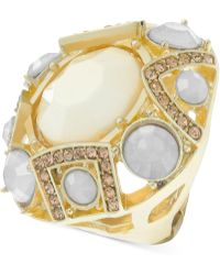 Guess - Goldtone Crystal Stone Stretch Ring - Lyst