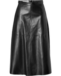 Valentino Leather Midi-Skirt - Lyst