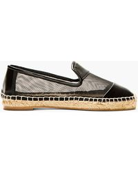 Stella McCartney Black Mesh and Jute Slip On Flats - Lyst