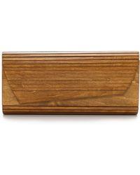 Inge Christopher Zena Wood Panel Clutch - Natural - Lyst