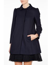 RED Valentino Navy Pleated Back Coat - Lyst