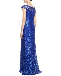 Tadashi Shoji Capsleeve Sequined Lace Gown - Lyst
