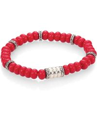 John Hardy Batu Bedeg Sterling Silver Beaded Braceletreconstructed Coral - Lyst