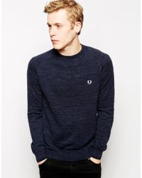 Fred Perry Sweater In Vintage Marl Knit - Lyst