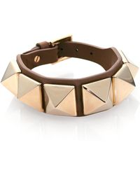 Valentino Rockstud Large Leather Bracelet - Lyst