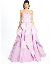 Oscar de la Renta Sweetheart Cascading Embroidered Gown - Lyst