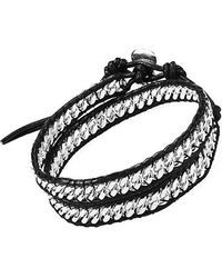Aeravida - Silver Cable Links Genuine Leather Double Wrap Bracelet - Lyst