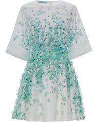 Blumarine Petal Print Cotton Shirt Dress with Petal Embroidery - Lyst