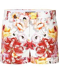 Ferragamo Stretch Cotton Floral Print Shorts - Lyst