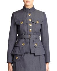 Marc Jacobs Belted Wool Military Jacket - Lyst