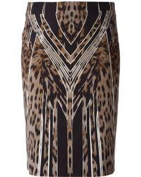 Roberto Cavalli Graphic Leopard Print Stretch Skirt - Lyst