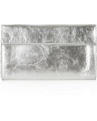 Topshop Metallic Leather Wallet - Lyst