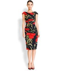 Dolce & Gabbana Cady Ruched Carnation-Print Dress red - Lyst