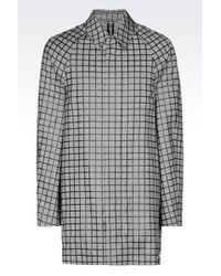 Emporio Armani Pea Coat In Houndstooth Virgin Wool - Lyst