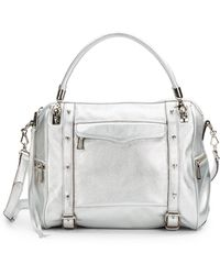 Rebecca Minkoff Metallic Leather Satchel - Lyst