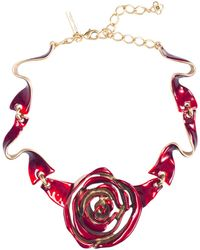 Oscar de la Renta Handpainted Enamel Rose Necklace - Lyst