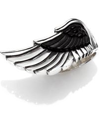 King Baby Studio Carved Jet Wing Ring - Lyst